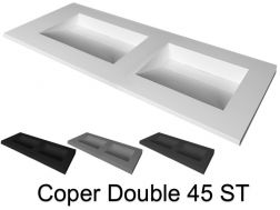Double washbasin washbasin, 50 x 180 cm, suspended or recessed - DOUBLE COPER 45 ST