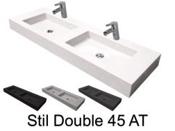 Double vanity top, 50 x 150 cm, suspended or recessed, in mineral resin - DOUBLE STIL 45 AT