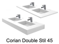 Double basin plan, 50 x 120 cm, Solid Surface type Corian - Double STIL 45