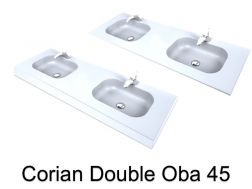 Double basin plan, 50 x 120 cm, Solid Surface type Corian - Double OBA 45