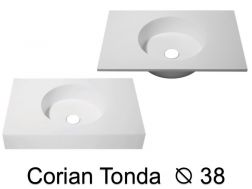 Round washbasin top 120 x 50 cm, Solid Surface type Corian - TONDA � 38
