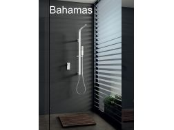 Built-in shower, White matt mixer tap and design knob - BAHAMAS BLANC