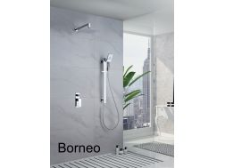 Built-in shower, mixer tap and design knob - BORNEO CHROME