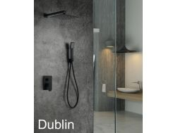 Built-in shower, black matt mixer and knob 25 x 25 - DUBLIN BLACK
