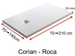 Shower tray type Corian, in mineral resin Solid Surface - ROCA