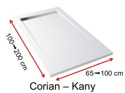 Corian shower tray, Solid Surface mineral resin, extra flat - KANY