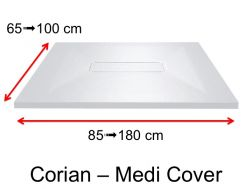 Corian shower tray, Solid Surface mineral resin, central drain - MEDI  COVER