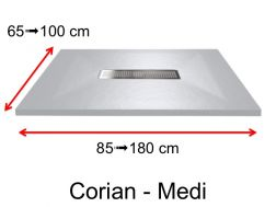 Corian shower tray, Solid Surface mineral resin, central drain - MEDI