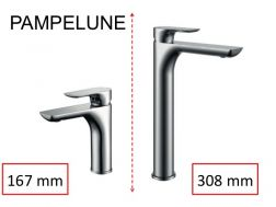 Single lever mixer tap, single lever mixer, height 167 or 308 mm - PAMPELUNE CHROME