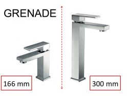 Washbasin tap, mixer, straight / square style, height 166 or 300 mm - GRENADE CHROME