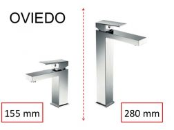 Washbasin tap, mixer, with square lines - OVIEDO CHROME