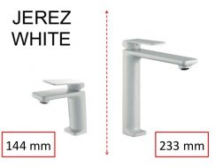 Lavatory Faucet, Matte White, Mixer, Height 144 and 233 mm - JEREZ White
