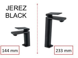 Lavatory Faucet, Matte Black, Mixer, Height 144 and 233 mm - JEREZ Black