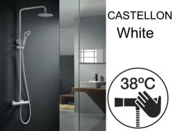Shower panel, matt white, thermostatic - CASTELLON BLANC