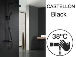 Shower column, matt black, thermostatic - CASTELLON BLACK
