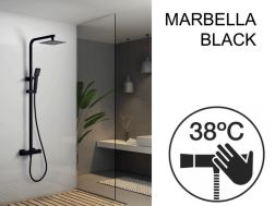 Shower panel, matt black, thermostatic, with straight and square finishes - MARBELLA BLACK