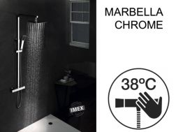 Shower column, thermostatic, with straight and square finishes - MARBELLA CHROME