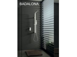 Built-in shower, White matt mixer tap and design knob - BADALONA BLANC