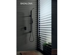 Built-in shower, Matte black mixer and design knob - BADALONA BLACK