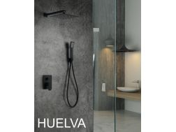 Built-in shower, black matt mixer and knob 25 x 25 - HUELVA BLACK