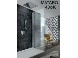 Built-in shower, single lever and ceiling light 40 x 40 cm - MATARO CHROME