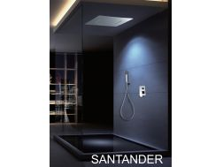 Built-in shower, mixer tap and ceiling light with waterfall, rain and micro rain - SANTANDER CHROME