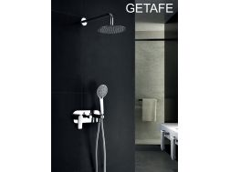 Built-in shower, mixer and round knob Ø25 cm - GETAFE CHROME