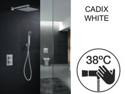 Built-in shower, thermostatic and rain shower head 25 x 25 - CADIX WHITE