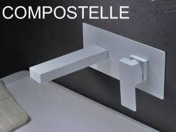 Recessed wall-mounted faucet, single lever, length 175 mm - COMPOSTELLE WHITE