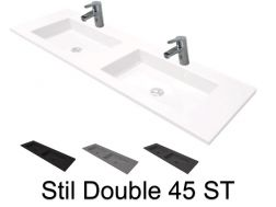 Double vanity top, 50 x 180 cm, suspended or recessed, in mineral resin - DOUBLE STIL 45 ST