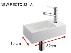 Washbasin, 15 x 32 cm, in Solid Surface, tap on the right - NEW RECTO 32 A
