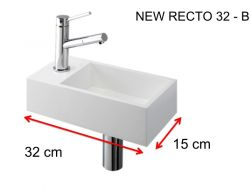 Washbasin, 15 x 32 cm, Solid Surface, tap left - NEW RECTO 32 B
