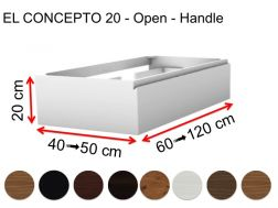 Custom bathroom cabinet, integrated handle, height 20 cm, wood finish - EL CONCEPTO 20 Open Wood