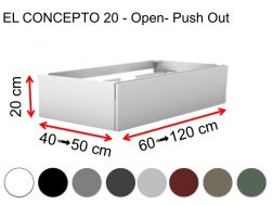 Custom bathroom cabinet, push-button opening, height 20 cm, lacquered finish - EL CONCEPTO 20 Open Push Out