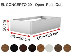 Custom bathroom furniture, push open, height 20 cm, wood finish - EL CONCEPTO 20 Open Push Out Wood