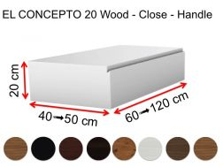 Bathroom cabinet, closed, custom, integrated handle, height 20 cm, wood finish - EL CONCEPTO 20 close Wood