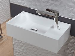 Hand wash basin, 220 x 410 mm, ceramic, suspended - NUMER R.