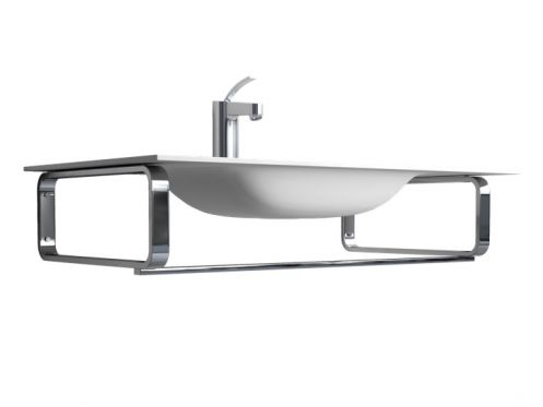 Mounting bracket, for wall-hung washbasin, with towel rail - AVILA