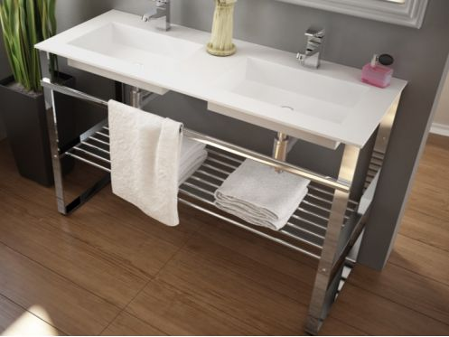 Mounting bracket, on foot, for vanity top, with towel rail - SEVILLA