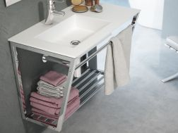 Mounting bracket, suspended, for vanity top, with towel rail - TOLEDO