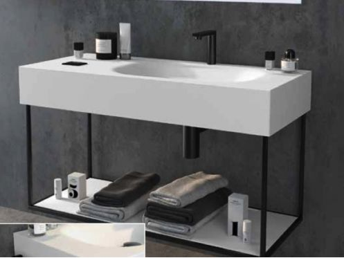 Black mounting bracket, suspended, for vanity top, ATELIER style - ATENAS