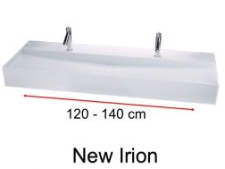 Double sink, design, in mineral resin Solid Surface type Corian - NEW IRION