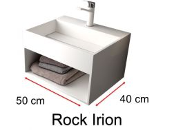 Washbasin, channel, in solid surface mineral resin Corian type - ROCK IRION