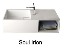 Washbasin, channel, in solid surface mineral resin Corian type - SOUL IRION