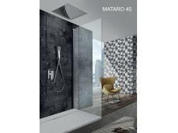 Built-in shower, built-in mixer and ceiling light 40 x 40 cm, rain effect - MATARO 40