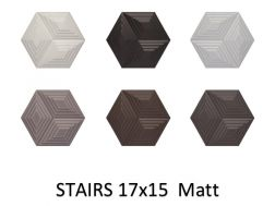 STAIRS 17x15 - Wall tile, Hexagonal, 3D relief