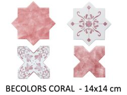 BECOLORS 14x14 cm, CORAL - floor and wall tiles, Oriental style.