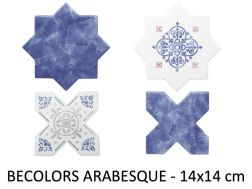 BECOLORS 14x14 cm, DECOR ARABESQUE - floor and wall tiles, Oriental style.