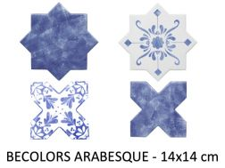 BECOLORS 14x14 cm, ELECTRIC BLUE - floor and wall tiles, Oriental style.