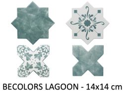 BECOLORS 14x14 cm, LAGOON - floor and wall tiles, Oriental style.